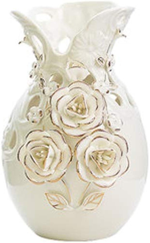 YYFRB Vase Blanc Laiteux décoration Salon décoration Vase en céramique Mariage Cadeau de Pendaison de crémaillère Or Vase Rose Vase