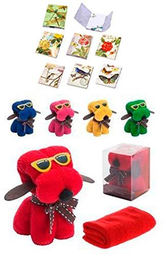 Lote 30 Toallas Perro + 3 Libretas Bloc Notas Floral Detalle de Boda en Caja de Regalo - Toallas Perritos con formas Baratas, Detalles Cumpleaños, regalos y recuerdos para Bodas Originales, Prácticos