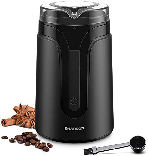 SHARDOR Kaffeemühle Elektrische Gewürzmühle,Edelstahlbehälter kleine Kaffeebohnenmühle für Kaffeebohnen Nüsse Gewürze Getreide Mühle Schwarz
