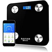 Bluetooth Body Fat Scales, Digital Weight Bathroom Scales, High Precision Weighing Scale for Body Composition Analyser, Smart APP for Body Weight&Fat, BMI, Muscle Mass 28st/180kg/400lb - Black