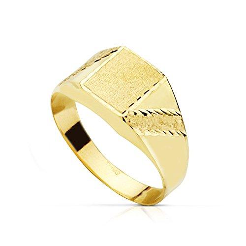 Sello oro 18k tallado banda hueco centro rectángulo 8x6mm. matizado niño primera comunión