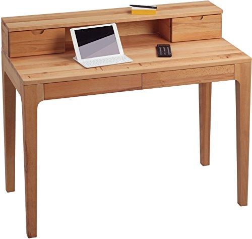 HomeTrends4You 612117 Schreibtisch / Sekretär / Konsolentisch Oskar, Echtholz Kernbuche massiv geölt, mit Schubladen und Aufsatz, 110x55cm, Gesamthöhe 96cm, Höhe Tischplatte 76cm