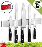 Soporte cuchillos cocina - Barra magnética porta cuchillos de cocina, montaje en pared sin taladro con banda adhesiva 3M VHB, acero inoxidable, 40 cm