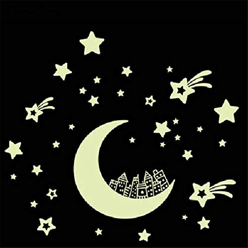 yuxue Tierbedarf Hundehalsband Haustier Leuchtende Wandaufkleber Cartoon Moon Star City Glow In Dark Fluoreszierende Wandtattoo Aufkleber Kinderzimmer Tapete Home Decor 40D9, Multi, Medium