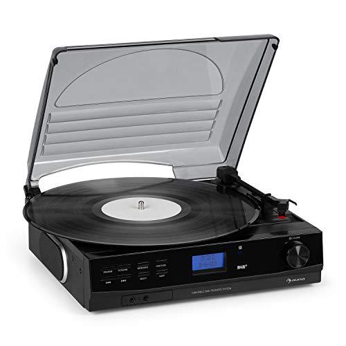 auna TT-186 DAB Plattenspieler - DAB+, FM Radio, Bluetooth-Funktion, Riemenantrieb mit 33, 45 U min, AUX-Eingang, Line-Ausgang, Schlaffunktion, inkl. Kopfhörer-Anschluss