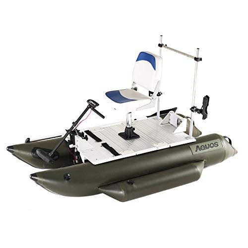 AQUOS Heavy-Duty 2020 New 7.5 ft Inflatable Pontoon Boat with Grab Bar and FoldingSeat and 20LBS BowMount TrollingMotor for One Person Fishing, Aluminum Floor Board, Transport Canada Approved