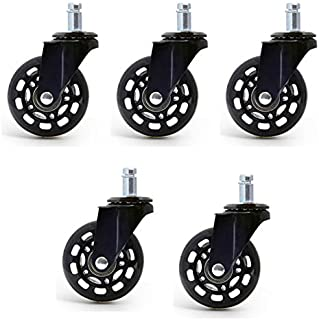 Wivarra 5 PCS Office Chair Caster Wheels Roller Style Castor Wheel Replacement Soft Safe Rollers Furniture 2.5 Inch