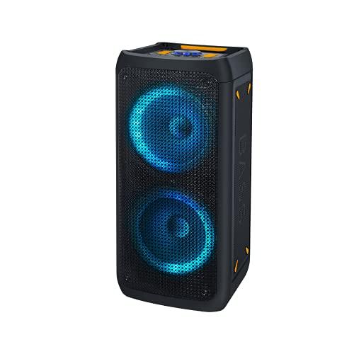 NK Bass Speaker - Altavoz Portátil Bluetooth | Potencia 46W | Batería Incorporada 4.400 mAh| USB | Karaoke | Luces Led Multicolor | Radio FM | Micrófono | Mando a Distancia | Color Negro