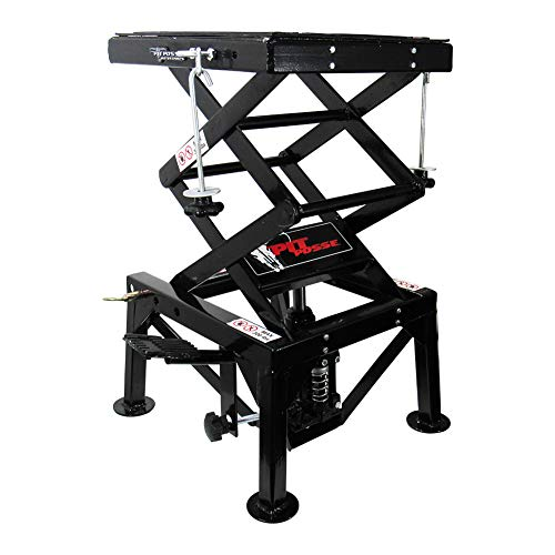 Pit Posse PP2551 Motorcycle ATV Scissor Floor Jack Lift Table Stand - 13 Inches Thru 36-Inch-High - Stable - Safe - Comfortable - 2 Years Warranty