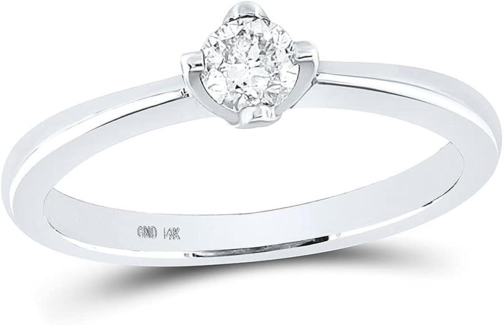 14kt White Gold Round Diamond Solitaire Bridal Wedding Engagement Ring 1/4 Cttw