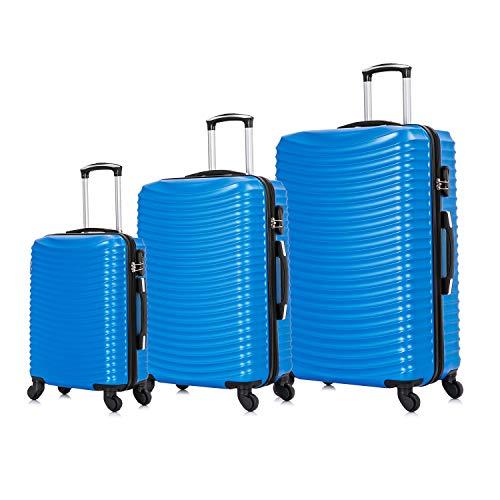 Vallexy Set di valigie Leggera Valigetta con guscio rigido Shell Set da 3 pezzi Bagaglio a mano(55X40X20 CM) + Bagaglio medio (65X43X23 CM)+ Bagaglio grande(74X49X27 CM)(20' 24' 28')(Royal)