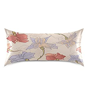 Silk Flower Arrangements ATTX Iris Flower Hand Drawn Seamless Pattern Pillowcase with Envelope Closure for Hair and Skin, Soft Breathable Smooth Both Sided Cooling Silk Pillow Cover(King 20''×40'',1Pcs)