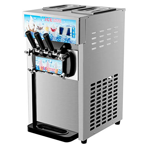CO-Z Commercial Soft Serve Ice Cream Machine Stainless Steel 3 Flavors Silver 18L/H Silver SS 1200W, Perfect for Restaurants, Snack, Bar, Supermarkets
