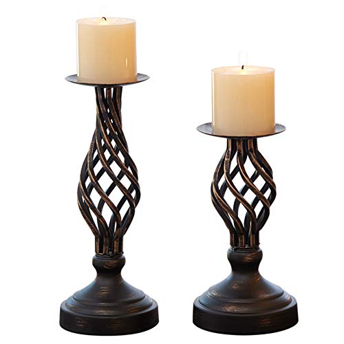 "ZZKOKO Decorative Candle Holder Set of 2, Metal Pillar Romantic Candlesticks, Home Decor Candle Stand, 11.1"", 8.1"" High Candle Holders for Fireplace, Living or Dining Room Table, Gifts for Wedding"