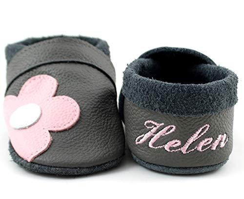 Krabbelschuhe Babyschuhe Lauflernschuhe mit Namensstickerei Blume weiches Leder steingrau