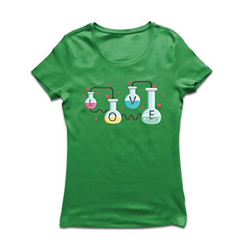 lepni.me Camiseta Mujer La fórmula del Amor, Ciencia, química - Regalo de San Valentín (Medium Verde Multicolor)