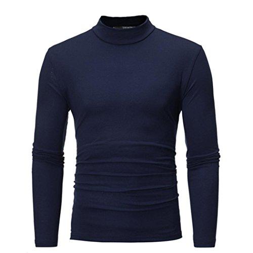 Ode_Joy Uomini Autunno e Inverno Tinta Unita Elasticità vestibilità Slim Top a Collo Alto Camicetta Maniche Lunghe da Uomo Manica Lunga con Color Autunno Uomo T-Shirt Maniche Lunghe (Navy,L)