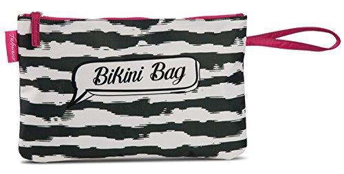 Bikini Bag Tasche Beutel für nasse Badesachen wasserabweisende Badetasche im Trend-Design Streifen schwarz