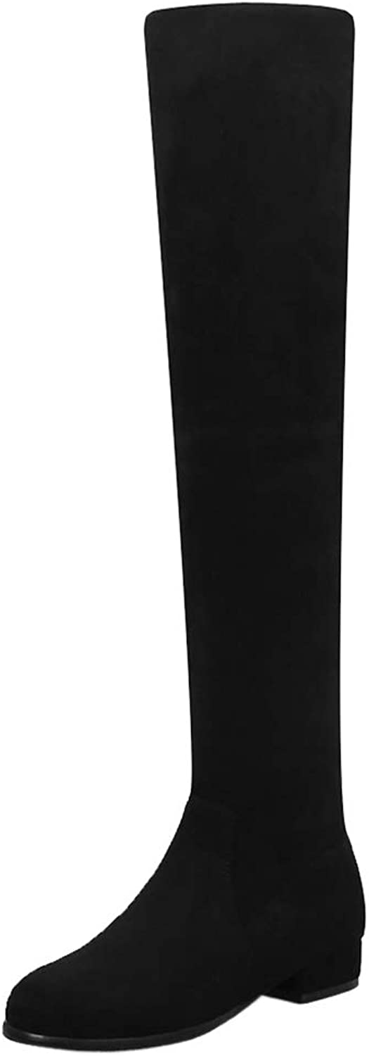 TAOFFEN Women Fashion Flat Over Knee Boots Pull On