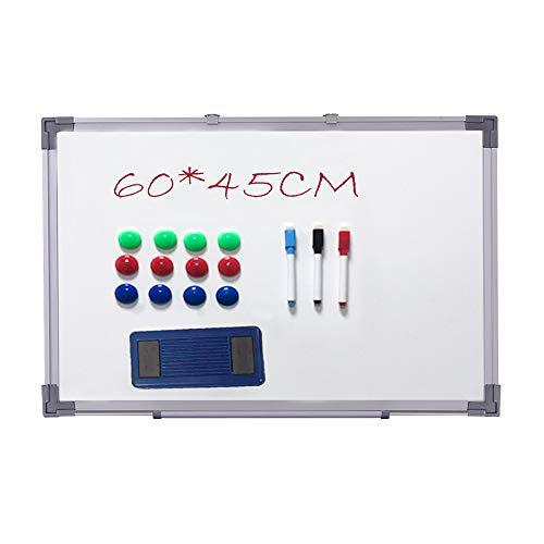Alaskaprint Magnetisches Whiteboard Magnetwand magnettafel beschreibbar mit Alurahmen inklusive 3 Stiftablage, 12 Pinnwand Tafel und Schwamm 60 cm x 45 cm (B x H)