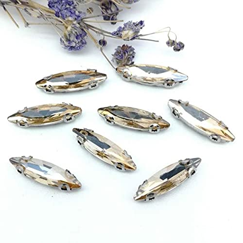 Horseye 4 * 15mm cristal de cristal coser diamantes de imitación plata o fondo dorado con cuatro garras DIY vestidos de mujer 20 piezas