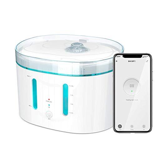 Bebedero de Agua para Perros y Gatos automático WiFi 2 litros, Doble purificación con Luces UV e Incluye 2 filtros. Fuente de Agua Compatible con App Smart Life, Alexa y Google Home.