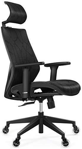 Ergonomic Office Chair, Tribesigns Mesh Chair with Adjustable Lumbar Support, 3D Armrest, Silent Skate Wheels, Headrest, High Back Executive Desk Chair for Office, Home