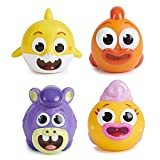 WowWee Pinkfong Baby Shark Official - Bath Squirt Toy 4 Pack (Baby Shark / William / Chucks / Goldie)