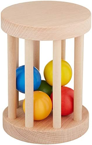 Cutie Pie Toys Montessori Ball Cylinder Rolling Drum Wooden Rattle Rolling Toy Baby Infant Toy product image