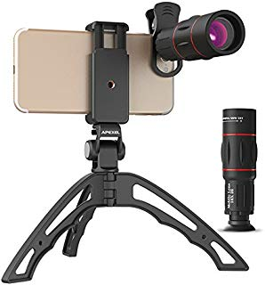 Apexel Zoom lens for Smartphone18X Telescope, Fisheye, Wide Angle 15x Macro lens Kit with Hand Held Tripod