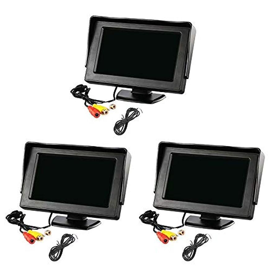 幾分咽頭クスクス(3セット)2系統の映像入力 12V車用 ミニオンダッシュ液晶モニター 4.3インチ バック切替可能
