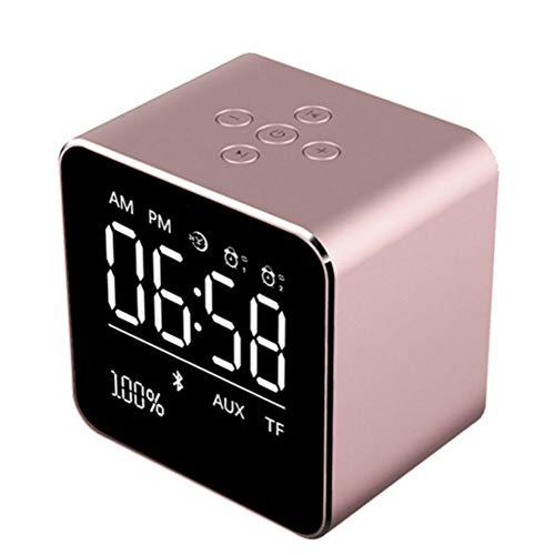LZJZ Altavoz Bluetooth Radio Despertador LED Espejo Escritorio Caja de Metal Dormitorio Dormitorio en casa Habitación Doble Reloj Despertador,Pink