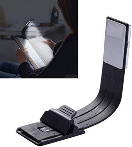 XXLYY Book Light Clip on LED Reading Light USB Rechargeable and 4-Level Adjustable Brightness Flexible Light Clip On for Book, ipad,eBook White Light