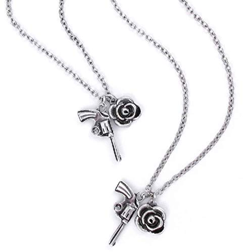 Guns N Roses Necklace & Bracelet Set Pistol and Rose Twin Charms Nue offiziell