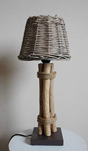 Dekorative Tischleuchte Rattan im Landhaus Stil H45cm