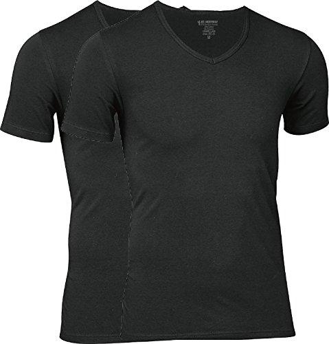 jbs - Hochwertiges T-Shirt für Herren im Doppelpack - Unterziehshirt aus Viskose (aus Bambus-Cellulose) und Baumwolle, V-ausschnitt 2x Schwarz, L
