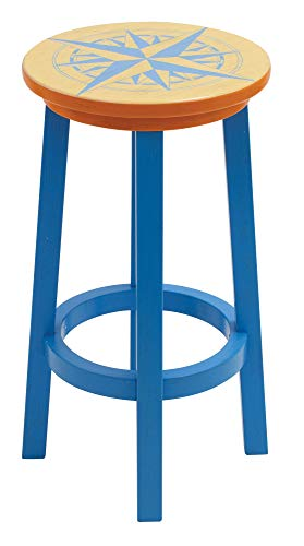 Margaritaville Indoor/Outdoor Wood Bar Stool - Nautical Compass