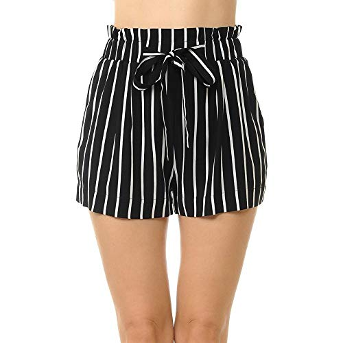 Khanomak Women's Stripe Print Paper Bag Rayon Loose Elastic Waist Shorts Pants (Black/Off White,Medium)