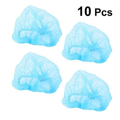 Healifty 10 unids Desechables Bouffant Caps No tejida de la cabeza del pelo Net para maquillaje de limpieza de tatuaje azul