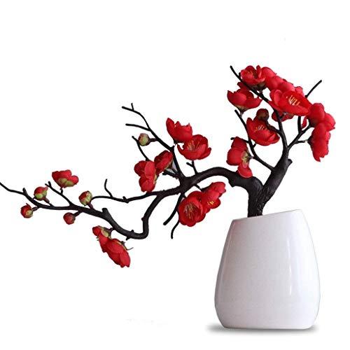 YGB Nuevo bonsái de Flor de Ciruelo Artificial con jarrón