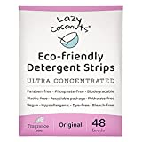 Lazy Coconuts Eco Friendly Laundry Detergent Strips - Fragrance Free, Unscented, Ultra Concentrated, Earth Friendly No Plastic - Lightweight and Perfect For Home, Dorms, Travel, Camping
