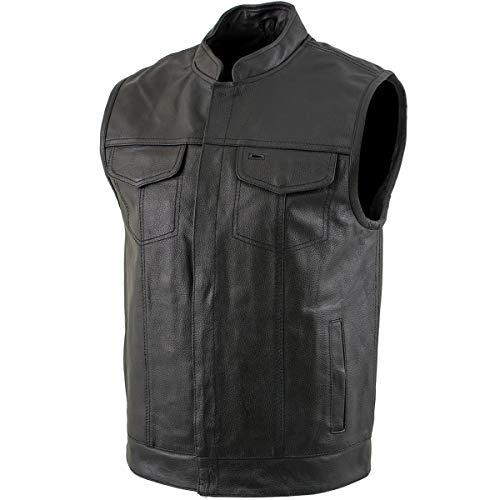 USA Leather 1205 'Combat' Men's Black Leather Gun Pocket Vest - 3X-Large