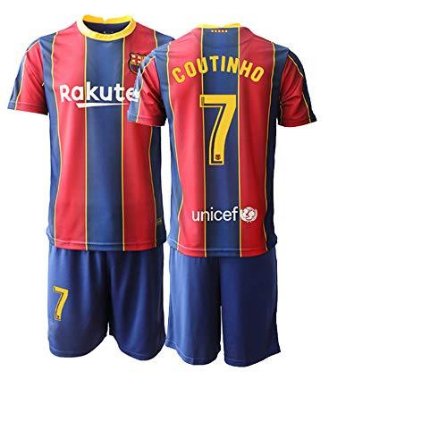 JEEG 20/21 Kinder Jugend Coutinho 7# Barce Fußball Trikot und Shorts (Kinder Größe 4-13 Jahre) (28)