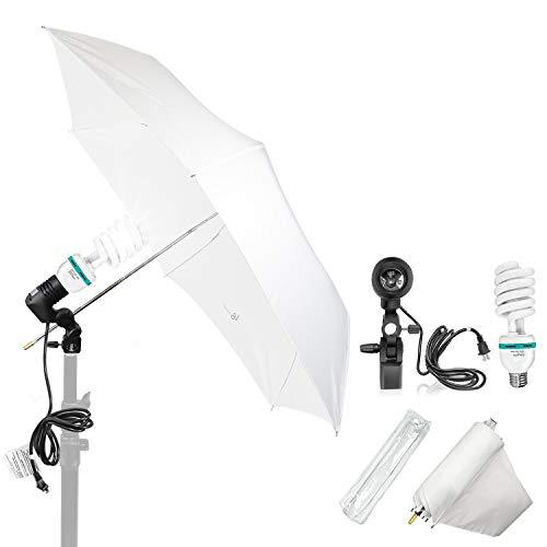 "LS LIMO STUDIO LIMOSTUDIO 33"" 3-Fold Ultra-Compact Professional Photography Studio Lighting Flash Translucent White Soft Umbrella Kit, Light Holder, 6500K Lighting Bulb, Portrait Shooting, AGG3107"