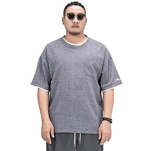 Hombres camiseta, ropa de hombre, de manga corta camiseta del estilo chino, falso de dos piezas cuello redondo de los hombres bordados de lino camiseta, algodón y mangas cortas de lino, diseño suelta