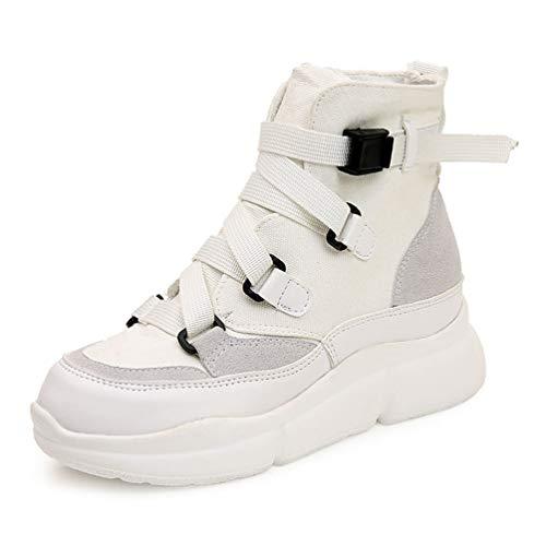 Stivali da Donna Piattaforma con Fibbia in Tela Stivali da Trekking Bianchi Neri Moda Punk Stivali da Ufficio Casual Casual da Ufficio Ogni Giorno