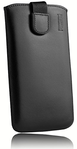 mumbi Borsa in Vera Pelle Compatibile con HTC One A9, (Linguetta con Funzione di retrazione, Supporto Estraibile), Nero