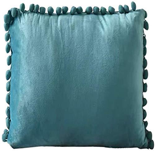 Paelf Nordic velvet ball pillow sand bedside back cushion creative pillow simple hair cushion office lumbar cushion,Green-18 * 18 inches