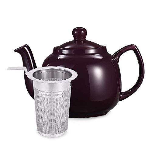 Urban Lifestyle Teekanne/Teapot Klassisch Englische Form aus Keramik Oxford 1,2L mit Teefilter aus Edelstahl (Aubergine)