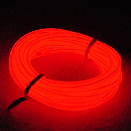 YiYunTE Tira de Luces 15ft LED Neon de Colores,Mangueras Flexibles Iluminación de Tira con Controlador Box,2 AA Pilas Funcionado(Rojo)